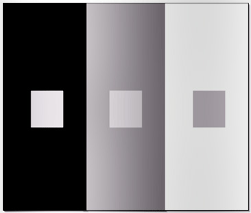 Three gray squares that look different but are the same